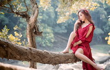 Girl, red dress, trees, branches, nature