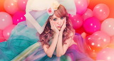 Girl, woman, balloons, flowers, big bow, colorful