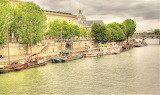 Boats along the River Seine in Paris France