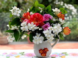 Flowers in white pitcher