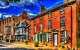 Domy przy ulicy we wsi Prestbury w Anglii