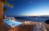 Luxury Santorini sea view pool and terrace at night
