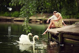 Girl, birds, branches, nature, pond, people, romance, duck, pair
