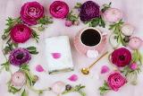 Flowers, tea, book, Asian buttercup, spoon, petals