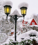 Red cottage in the snow