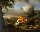 Landscape: Woman Milking a Cow by Adriaen van de Velde