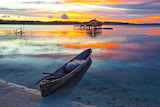 Lagoon, boat, stilt hut, nature, sunset, landscape
