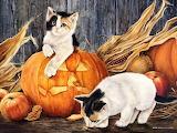 Two-Kittens-and-Pumpkin-Lowell-Herrero