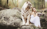 White, girl, nature, tiger, stones, mood, the situation, dress,