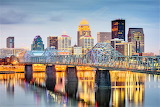 Blue hour Bridge over Ohio River Louisville Kentucky sng