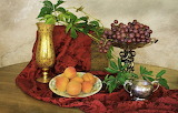 Green, leaves, grapes, Still life, apricots, golden pitcher, sil