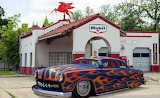 Custom Ford at old gas station