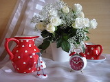 Still life, flowers, flower bouquet, jug, vase, roses, white, re