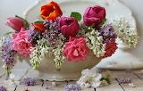 Bouquet, tulips, roses, lilacs
