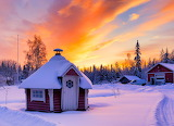 Lapland cottage at sunset