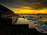 Steinernde Treppe im Sonnenuntergang