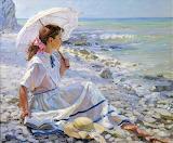 Femme-bord de mer-peinture