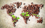 Coffee beans, world map, coffee, beans, leaves