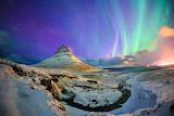 Kirkjufell Mountains and Northern Lights Iceland