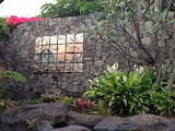 Outdoor decorative tile & stone wall