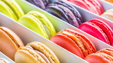 ^ Colorful macarons, box