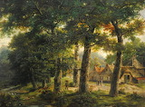 Wooded landscape with a farm by John Berney Ladbrooke