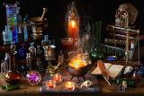 Halloween Skulls Candles Fire Feathers Book Bottle 572423 1280x8
