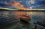 Rowboat at sunset