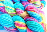 Colorful turquoise hanks of yarn