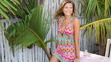Girl, smile, palma, fence, palm tree, beauty