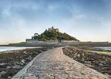 Causeway to St. Michael's Mount in Cornwall - England