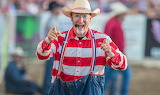 Rodeo, clown, colored, face, hat, red, white, striped, t-shirt