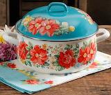 Baking pot, flower decoration, blue color