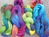 Colorful dyed wool (yarn)