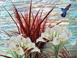 White lilies and hummingbird