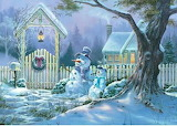 Snowmen at the fence