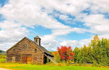 Barn propped up by lumber New Hampshire