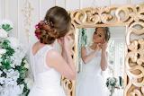 Girl, reflection, dress, white, mirror, bride, flowers, woman