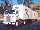 International Harvester COE Semi Truck Dual Trailer