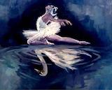 Painting Reflection on Swan Lake