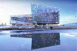 Harpa Concert Hall reflected in water Iceland