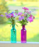 Spring Flowers in bottles