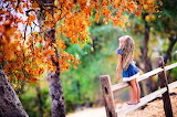 Child, fence, trees, leaves, autumn