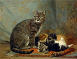 John-Henry-Dolph-American-1835-1903-Mother-with-her-Kittens