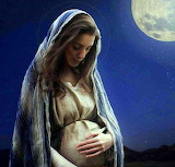 Mary mother of Jesus, pregnant, moon, woman