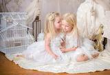 Girls, children, white dresses, bird cage, violin, room, kiss, f