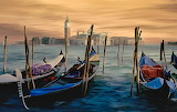 Boats, river, sea, painting