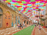 Street decorated with colorful umbrellas