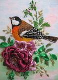 Bird in Flower Embroidery & Ribbon Work