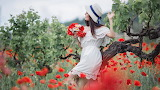 Girl, woman, white dress, hat, flowers, trees, nature, branch